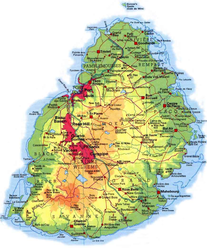 Map Of Mauritius Mauritius And Cities Map Map Of Mauritius